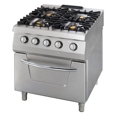Maxima Gastro Gasherd - 800 x 900 mm tief - 4 Brenner mit Elektroofen - 4 x 10000 Watt + 6000 Watt Ofen