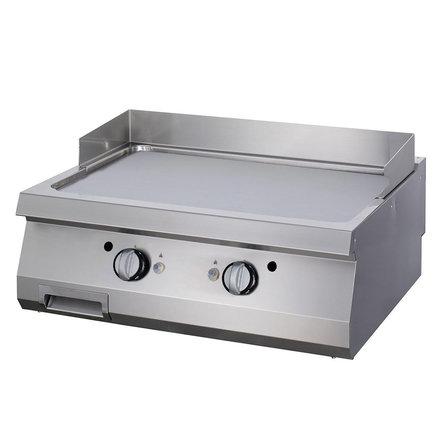 Maxima Gastro Grillplatte Doppel - Chrom - Glatt - Elektrisch - 800 x 900 mm tief - mit Spritzschutz - 12000 Watt