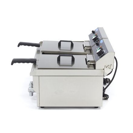 Maxima Gastro Fritteuse - Elektrisch - 2 x 13 l Öl - mit Ablasshahn - 2 x 3000 Watt