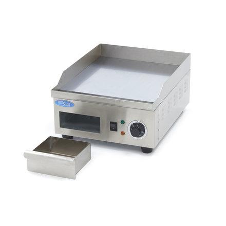 Maxima Gastro Grillplatte - Chrom - Glatt - 36 cm - mit Spritzschutz - 2000 Watt