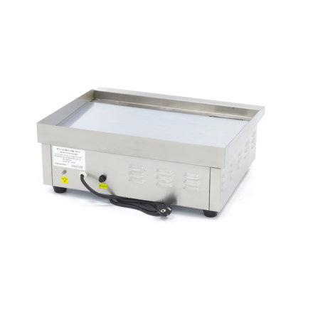 Maxima Gastro Grillplatte - Chrom - Glatt - 55 cm - mit Spritzschutz - 3000 Watt