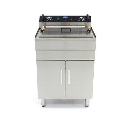 Maxima Gastro Fritteuse - Elektrisch - 1 x 35 l Öl - mit Ablasshahn und Schrank - 6000 Watt