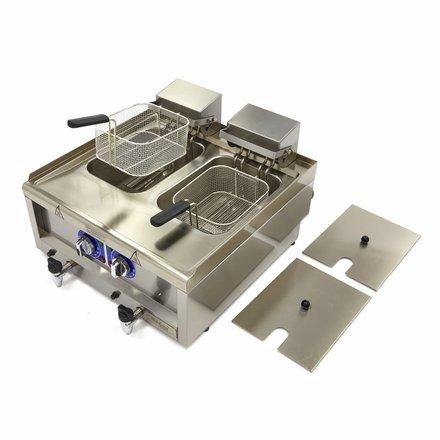 Maxima Commercial Grade Fryer 2 x 10L - Electric - 60 x 60 cm with Faucet