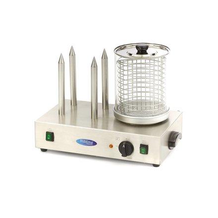 Maxima Würstchenwärmer Hot Dog - 30 °C bis 100 °C - mit Brötchenwärmer - 600 Watt