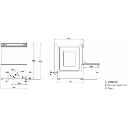 Maxima Gastro Geschirrspülmaschine - <75 dB - leise - umweltfreundlich - mit Klarspülpumpe - 3600 Watt - 230 V