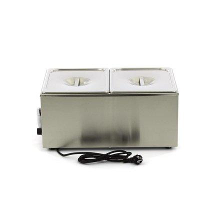 Maxima Bain-Marie - 2 x 1/2 GN - 45 bis 90 °C - mit Ablasshahn - 1200 Watt