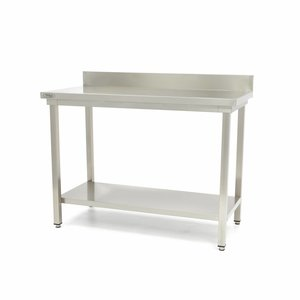 Maxima Stainless Steel Workbench 'Deluxe' 2000 x 600 mm with backsplash