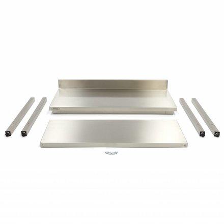 Maxima Gastro Arbeitstisch mit Aufkantung - 1600 x 600 mm tief - Edelstahl - 150 bis 200 kg
