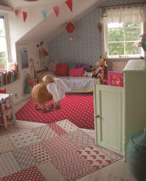 Vintage vloerkleden kinderkamer met patchwork motief