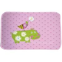 Kindervloerkleed roze met nijlpaard