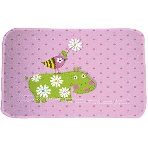 Achoka Kindervloerkleed roze met nijlpaard