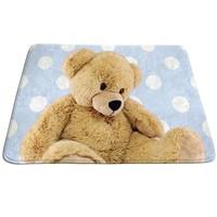 Kindervloerkleed blauw met afbeelding beer