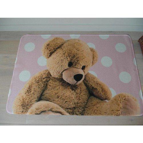 Kindervloerkleed roze met afbeelding beer