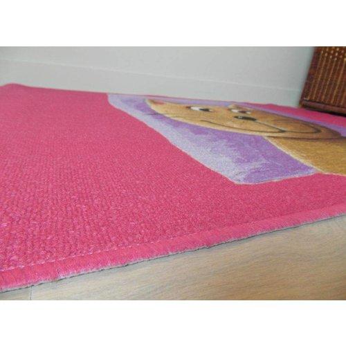 Kindervloerkleed roze met afbeelding kat