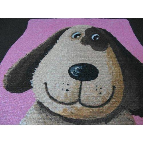 Kindervloerkleed bruin/roze met opdruk hond