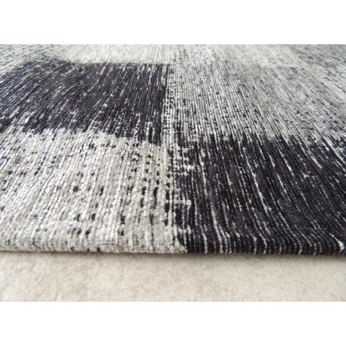 Vintage vloerkleed grijs geblokt