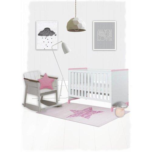 Kindervloerkleed roze met ster