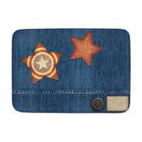 Kindervloerkleed jeanslook met sterren