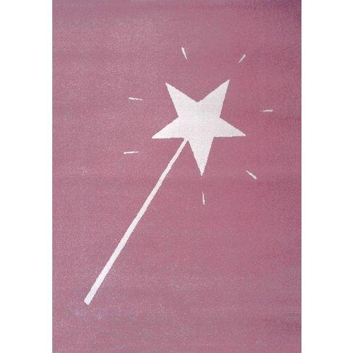 Kindervloerkleed roze met toverstaf