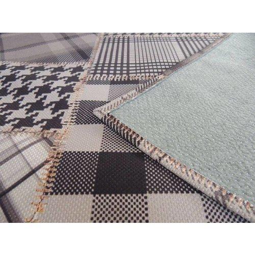 Vintage vloerkleed zwart/grijs patchwork