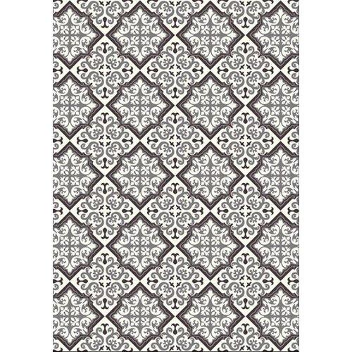 Vintage vloerkleed tegels zwart/grijs