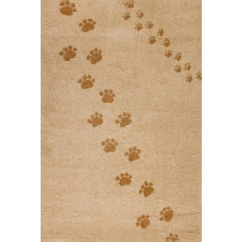 Kindervloerkleed beige met hondenpootjes