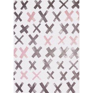 Kindervloerkleed grijs met roze kruisjes
