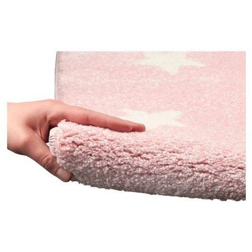 Kindervloerkleed roze met witte sterren