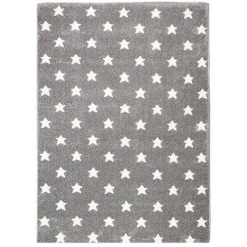 Kindervloerkleed grijs met witte sterren