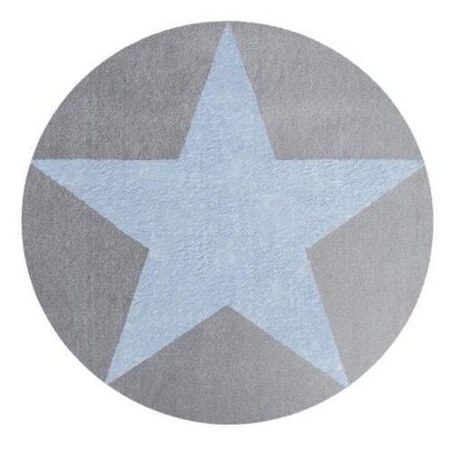 Rond kindervloerkleed grijs met blauwe ster