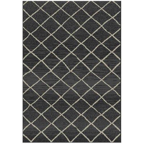 Modern vloerkleed sisal look zwart/grijs