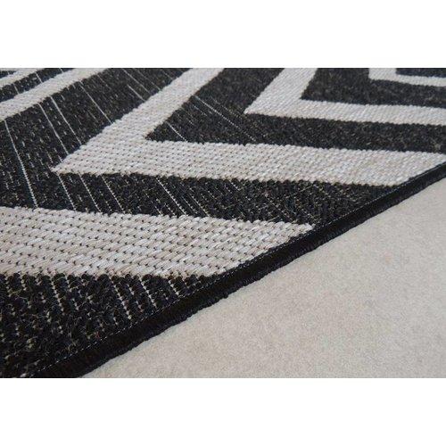 Vloerkleed in sisal look zwart/grijs