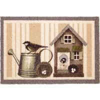 Schrapende deurmat vogelhuis en gieter