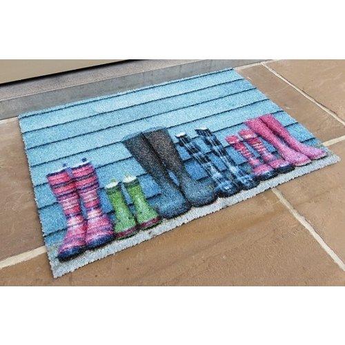 Schrapende deurmat blauw met rubberen laarzen