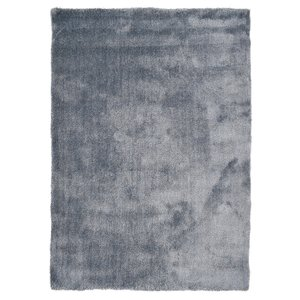 Hoogpolig vloerkleed blauw/zilver luxe 20 mm