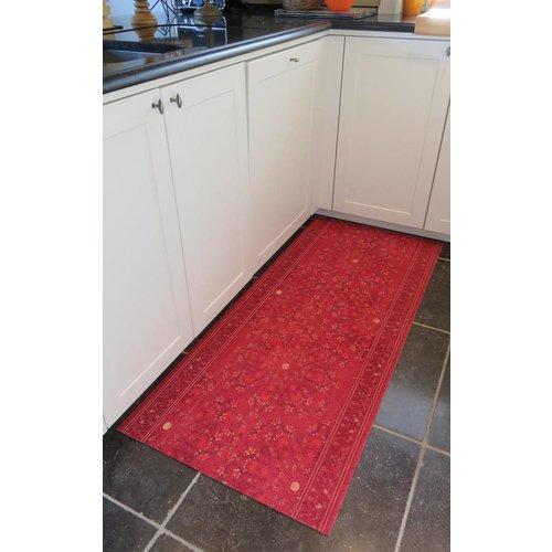 Keukenloper op maat, classic vintage rood
