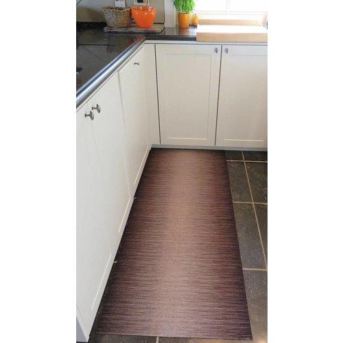 Keukenloper op maat, lijnen bruin
