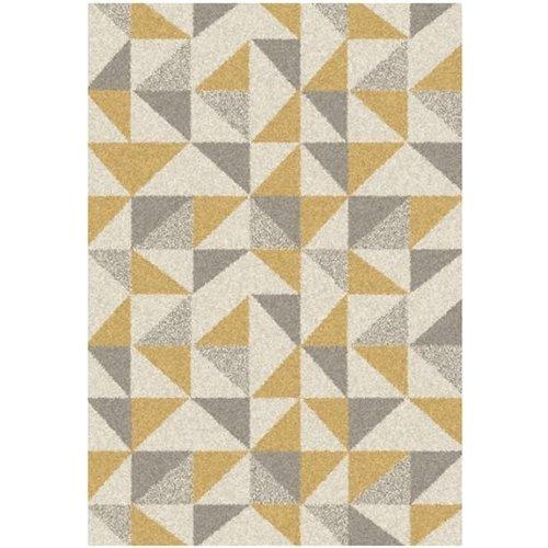 Modern vloerkleed met ivoor, grijs en oker patroon