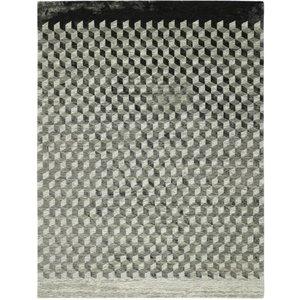 Modern vloerkleed met geometrische print, taupe