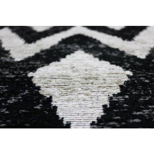 Modern vloerkleed met geometrische print, beige / zwart