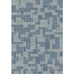 Vloerkleed voor buiten en binnen, ivoor zilver/blauw