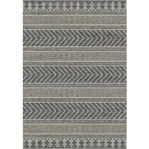 Vloerkleed voor buiten en binnen, lijnen dessin, ivoor zilver/grijs