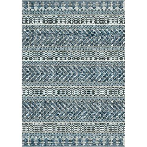 Vloerkleed voor buiten en binnen, lijnen dessin, ivoor zilver/blauw