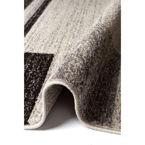Modern vloerkleed ivoor/donkerbruin patroon