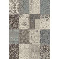 Modern vloerkleed patchwork grijs/blauw
