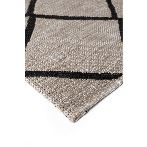 Modern vloerkleed zilver en zwart