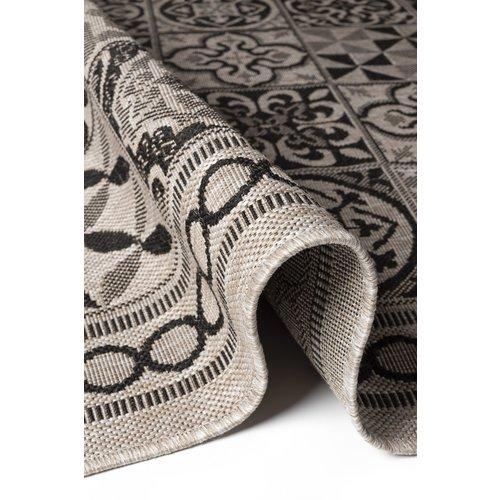 Modern vloerkleed met tegel dessin, zilver en zwart