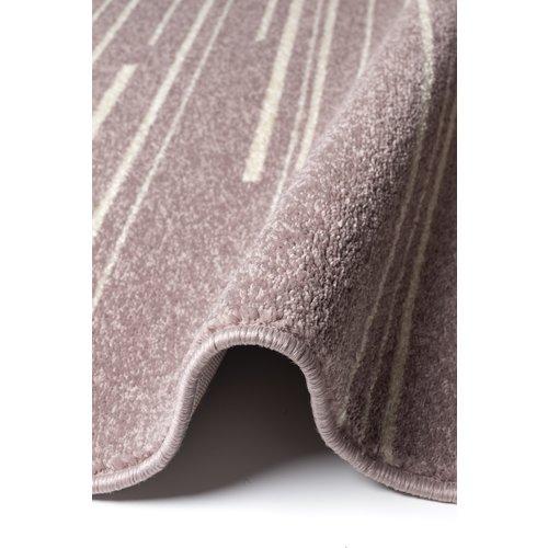 Modern vloerkleed met lijntjes roze en crème