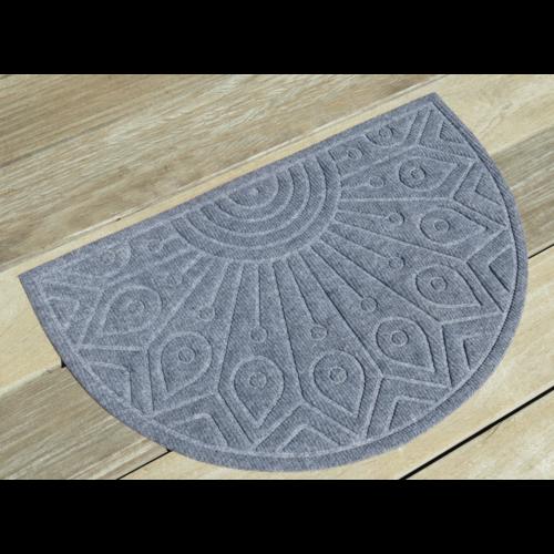 Schrapende naaldvilt deurmat halfrond grijs