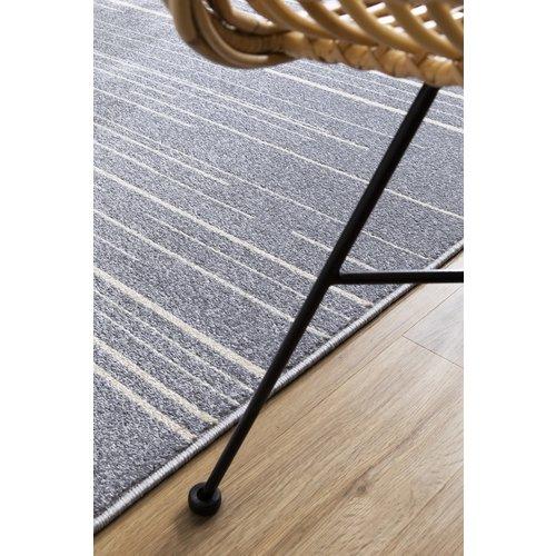 Modern vloerkleed met lijntjes zilver en crème